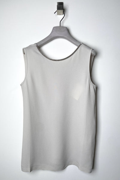 Fabiana Filippi Light Grey Tank Top with Brilliant Neck