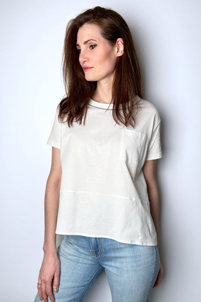 Fabiana Filippi White Hi-Low T-Shirt with Brilliant Detail
