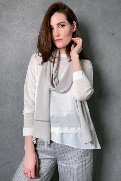 Fabiana Filippi Skinny Taupe Scarf with Brilliant Detail