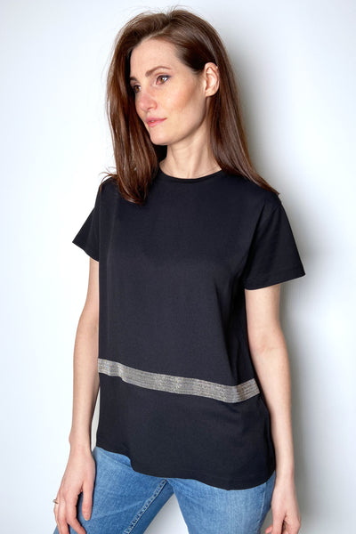 Fabiana Filippi Black T-Shirt with Brilliant Stripe