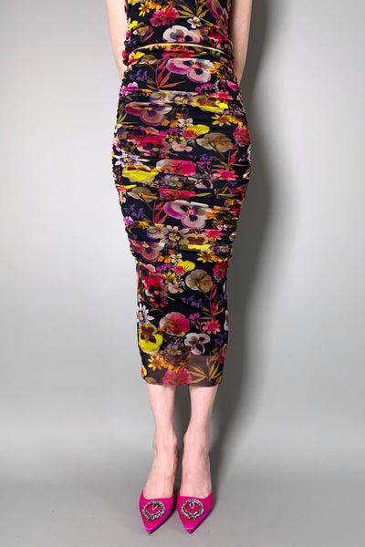 Fuzzi Black Floral Gathered Tulle Skirt