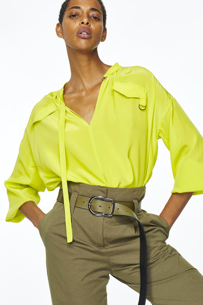 Dorothee Schumacher Acid Yellow Silk Blouse