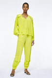 Dorothee Schumacher Acid Yellow Silk Cargo Jogger Pants