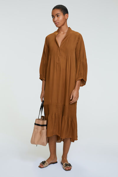 Dorothee Schumacher Fluid Luxury Dress in Brown Olive