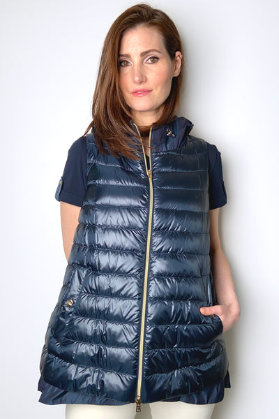 Herno Ultralight Navy Puffer Vest with Taffeta Detail