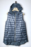 Herno Ultralight Blue Grey Puffer Vest with Taffeta Detail