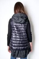 Herno Ultralight Black Puffer Vest with Taffeta Detail