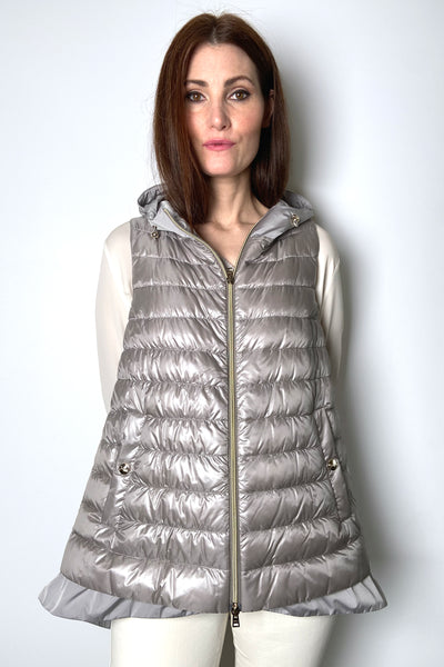 Herno Ultralight Taupe Puffer Vest with Taffeta Detail