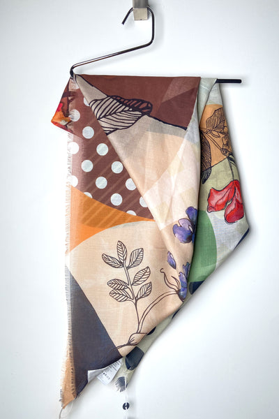 HIGH Earthy Floral Polka-Dot Scarf