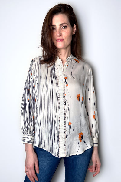 HIGH Orange Floral Silk Shirt