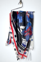 HIGH Blue/Red Watercolour Floral and Polka Dot Scarf