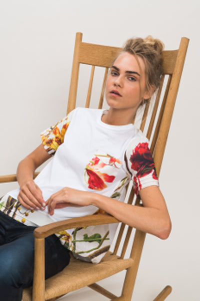 "HIGH ""Pleasure"" White T-Shirt with Floral Details"