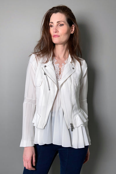 "HIGH White ""Rowdy"" Pinstripe Moto Cardigan"