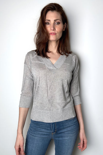Lorena Antoniazzi Light V-Neck Pullover in Light Grey