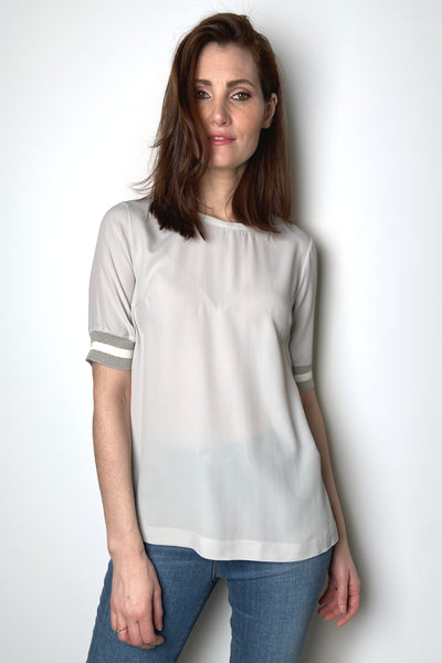 Lorena Antoniazzi Light Grey T-Shirt with Knit Details