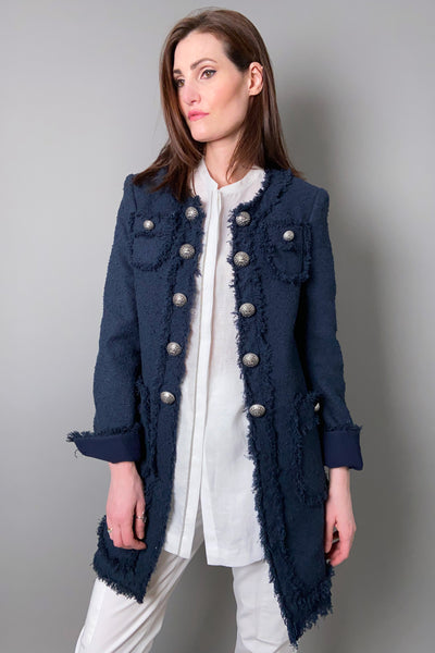 Maison Common Navy Tweed Military Jacket