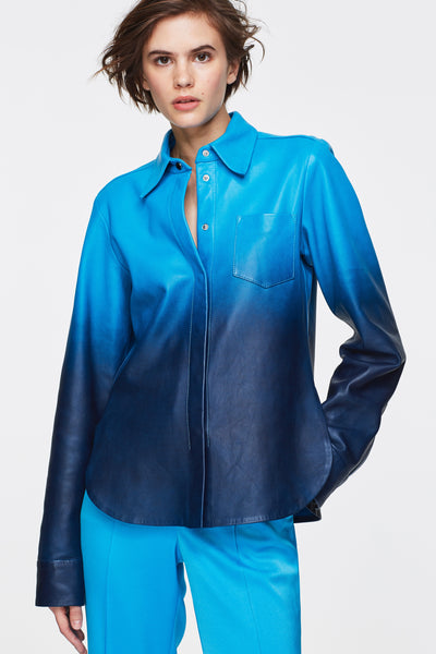Dorothee Schumacher Blue Ombre Leather Shirt