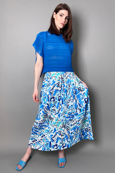 Pleats Please Blue Playing Print Skirt