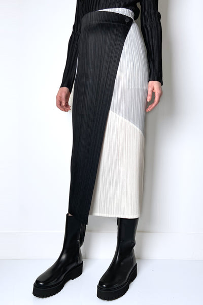 Pleats Please Colour Blocked Wrap Skirt
