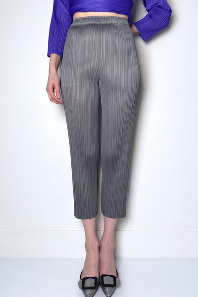 Pleats Please Grey Basic Cropped Pants