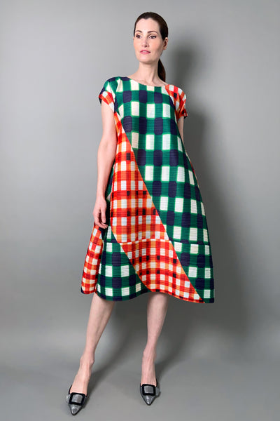 Pleats Please Green and Red Trek Check Dress