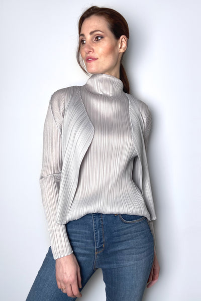 Pleats Please Light Grey Cropped Cardigan