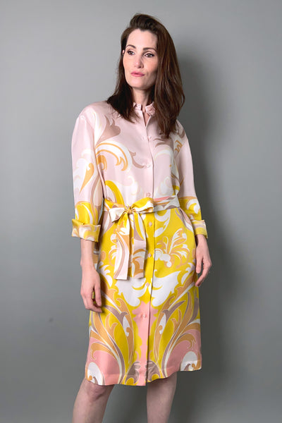 Emilio Pucci Pink Silk Tropicana Print Shirt Dress