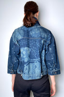 Red Valentino Asian Toile De Jouy Laser Print Denim Jacket