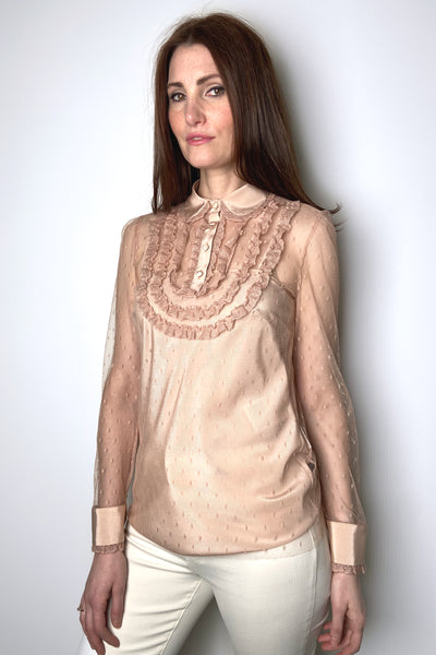 Red Valentino Point D'Esprit Ruffled Nude Blouse