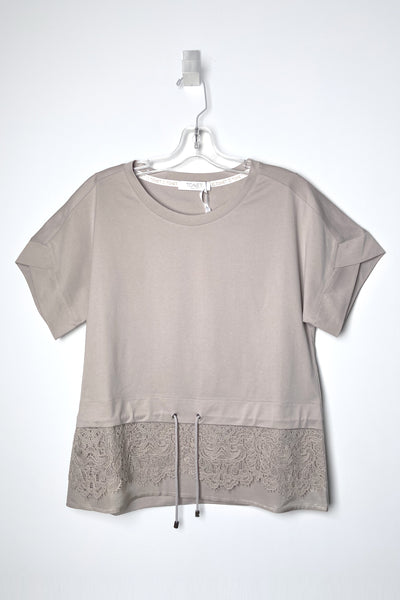 Tonet Beige T-Shirt with Lace Detail