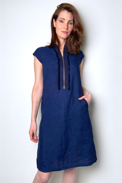 Tonet Navy Linen Shift Dress