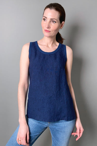 Tonet Navy Linen Tank Top