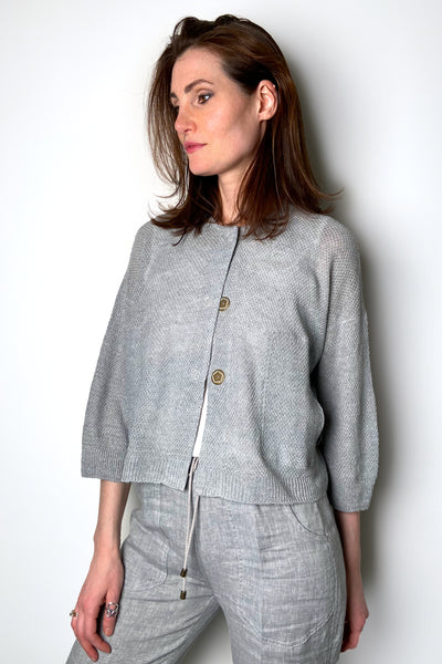 Tonet Silver Cropped Linen Cardigan