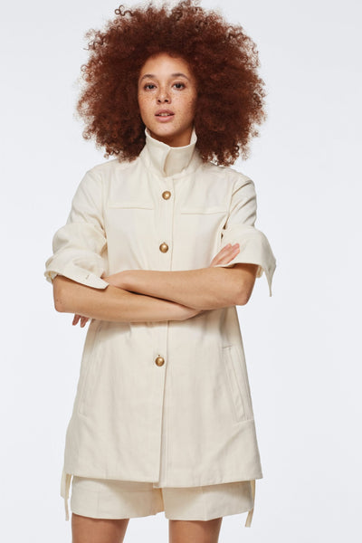 Dorothee Schumacher Cream Canvas Military Jacket