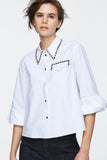 Dorothee Schumacher Poplin Power Blouse with Rhinestones