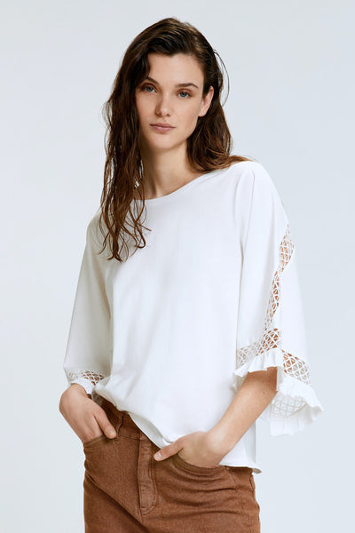 Dorothee Schumacher White Casual Statement Shirt 3/4 Sleeve