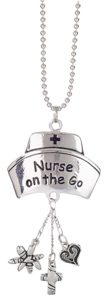 Silver Car Charm Nurse on the Go