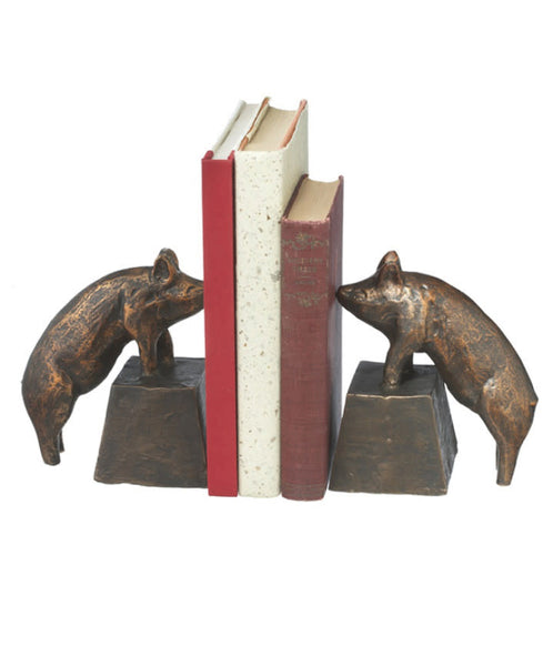Antique Gold Pig Bookends