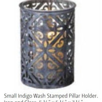 Indigo Wash Pillar Lantern