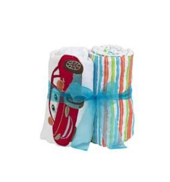 Carl Car Double Burp Cloth Gift Set