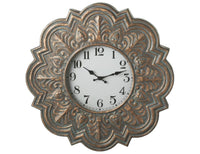 Patina Stamped Clock (iron & glass)