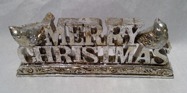 Polystyrene MERRY CHRISTMAS Sign - silver tone (Clearance)