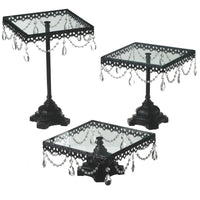 3pc Iron & Acrylic Cake Stand Set