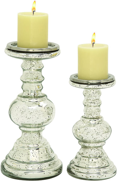 Metal Glass Candle Holders (set of 2)