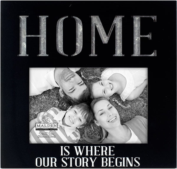 Galvanized Expression Frame HOME IS WHERE OUR STORY BEGINS