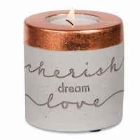 Cherish, Dream, Love - 3'' x 3'' Cement Candle Holder