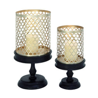 Metal/Wood Candle Holders (set of 2)