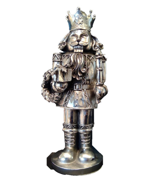 12 in Silver-plated Soldier Holding Wreath