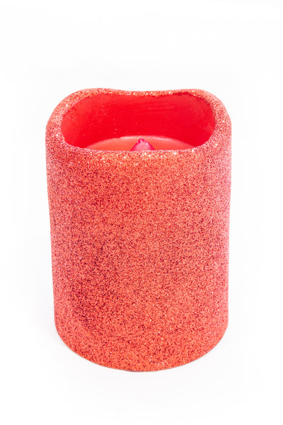 "LED Red Glitter Candle (3x4"")"