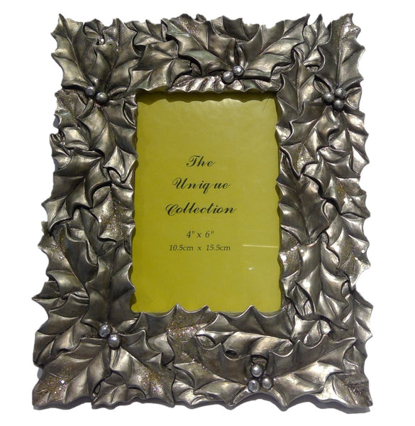 Gilded Holly Leaf Picture Frame (10'')